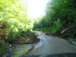 Route 100A toward Salt Ash Inn (hill; looking up at landslide), by Terry Bascom