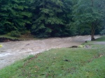 4:31PM 8/28/11, Pinney Hollow Brook, Route 100A, Where the bridge and garden were, by Jen&Jay Flaster