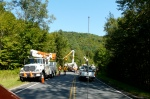 11AM 9/2/11, CVPS and Ontario power crews arrive to restore power on Route 100A in north Plymouth, by Jen and Jay Flaster
