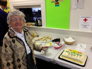 Liza turned 90 and The United Church Ludlow celebrated with a cake on April 14. Photo by Lee Kafer.