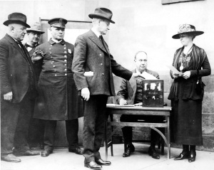 Governor and Mrs. Coolidge cast their own votes in Northampton for the 1920 national election. Photo courtesy Forbes Library & Museum