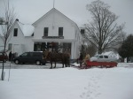 Cilley Store in the background, Fred DePaul with his horses & sleigh