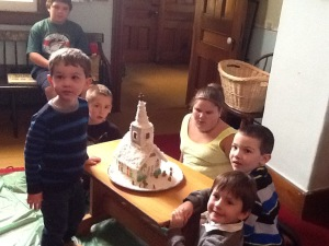 Pic is Brian Hayes on bench on top, standing Landon Perrino, sitting in back Owen Bishop, side is Crystal Hayes, sitting in front Owen Marks, & Owen Perrino.  Gingerbread church by Rose Frye.
