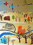 """Winter"" (Mural at the Plymouth Schoolhouse Activity Center)"