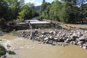 Rt 100 bridge washout near Hawk Mt. Resort. Photo by Jim Nielsen